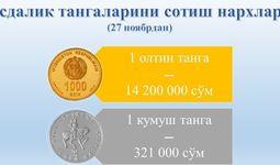 Марказий банк: олтин ва кумуш тангалар арзонлашди