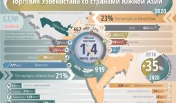 Инфографика: Торговля Узбекистана со странами Южной Азии