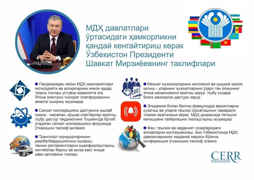 Президент Шавкат Мирзиёевнинг МДҲ саммитидаги нутқидан асосий жиҳатлар
