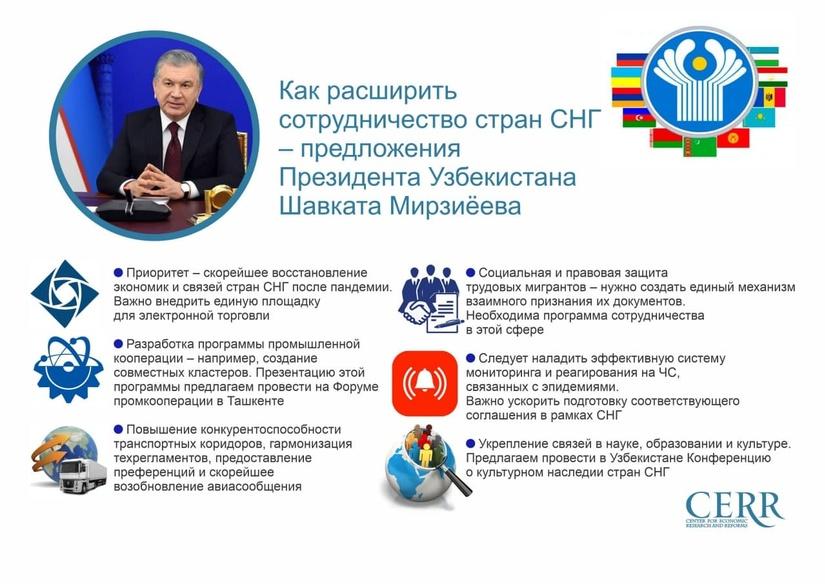Инфографика: Как расширить сотрудничество стран СНГ – предложения Президента Узбекистана Шавката Мирзиёева