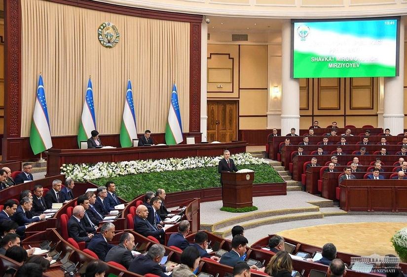 Проходит совместное заседание Законодательной палаты и Сената Олий Мажлиса