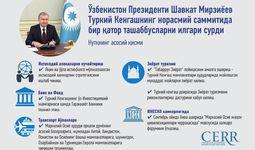 Инфографика: Туркий Кенгашнинг норасмий саммитида Президент Шавкат Мирзиёев томонидан қандай ташаббуслар илгари сурилган