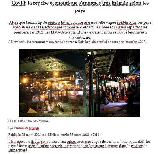 Франциянинг «Les Echos» газетаси Ўзбекистон иқтисодиётини изчил суръатларда тикланаётган давлатлар рўйхатига киритди