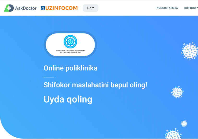 Ўзбекистонда илк бор онлайн поликлиника ишга туширилди