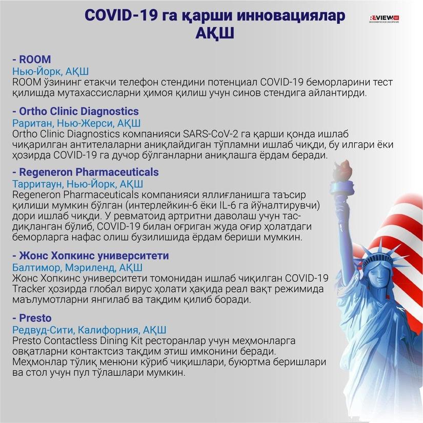 Инфографика: АҚШнинг  COVID-19 га қарши инновациялари